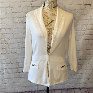WHBM white clasp front metal faux pockets cardigan
